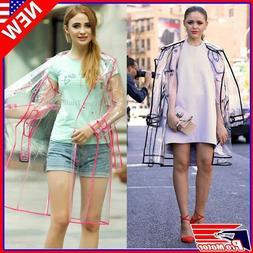 Women Men Rain Coat Transparent Raincoat Windproof Jacket Ou