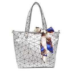 Women Tote Bag Geometry Sequins Mirror Saser Plain Folding W
