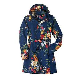 Women's Floral Rain Jacket with Detachable Hood - Belted, Zi