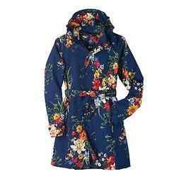 Women's Floral Rain Jacket with Detachable Hood - Belted, Zi