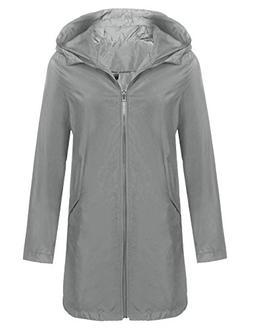 Women's Hooded Outdoor Rain Jacket Lightweight Waterproof Ac