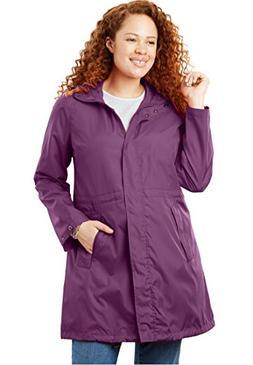Women's Plus Size Packable Anorak Raincoat Plum Purple,22 W