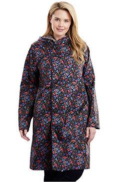 Women's Plus Size Packable Water-Resistant Hooded Raincoat w