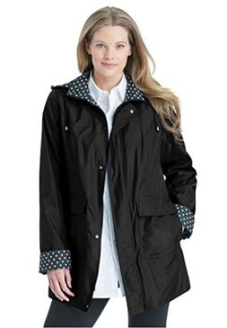 Women's Plus Size Raincoat in New Short Length with Fun Dot