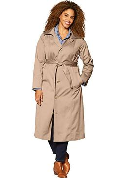 Women's Plus Size Water-Resistant Long Trench Coat