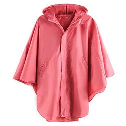 Women's Waterproof Packable Rain Jacket Batwing-sleeved Ponc