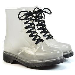 Women's Waterproof Rain Ankle Boots Clear Martin Rain Boots