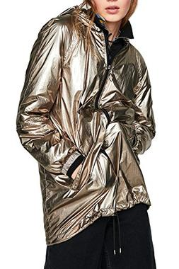 Womens Hoodies Outerwear Long Sleeve Sweatshirt Gold Metalli