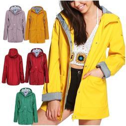 Womens Rain Mac Waterproof Festival Jacket Ladies Anorak Hoo