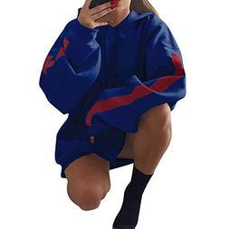 ZHANGVIP Contrast Color Hoodie Women Loose Patchwork Hooded