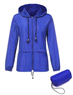 ZHENWEI Women's Waterproof Raincoat Outdoor Hooded Rain Jack