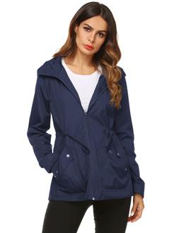 ZHENWEI Active Rain Jacket Women Outer Waterfall Coat Navy B