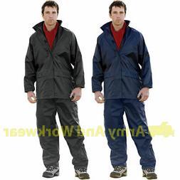 Adults Waterproof Rain Suit Jacket & Trousers Set Womens Men