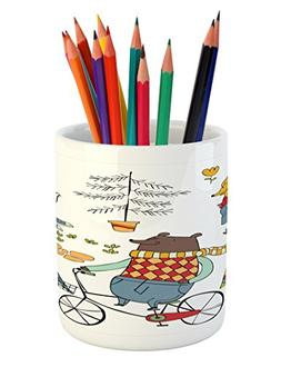 Ambesonne Animal Pencil Pen Holder, Bear on Bicycle Fox in R