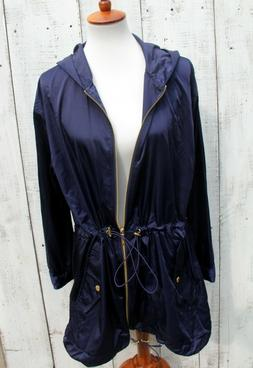 MICHAEL KORS Anorak Jacket Rain Coat NEW - Navy Gold - Size