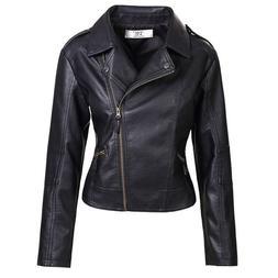 Artfasion Women's Slim Tailoring Faux Leather PU Short Jacke