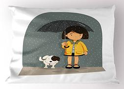 Lunarable Autumn Pillow Sham, Cartoon Girl Standing in the R