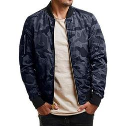 iZHH Mens Autumn Winter Jacket Coat Camouflage Zipper Long S