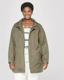 Ava & Viv Women's Plus Size Anorak Rain Coat, Black, 3XL