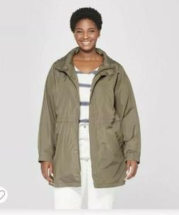 Ava & Viv Women's Plus Size Anorak Rain Coat, Olive Green ,