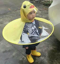 Baby Boys Girls Kids Children Duck Raincoat Umbrella Coat Fu