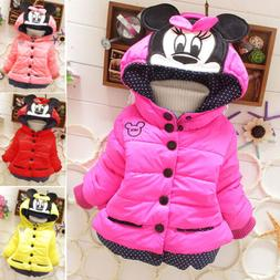 Baby Girls Kids Minnie Mouse Hoody Hoodie Jacket Coat Winter