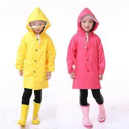 Baby Kids Boys Girls Hooded Raincoat Cape Rainwear Jacket Wa