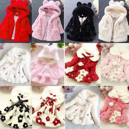 Baby Kids Girls Outerwear Faux Fur Hooded Hoodie Winter Warm