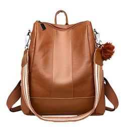YJYDADA Bag,Girl Hairball Leather School Bag Hit Color Backp