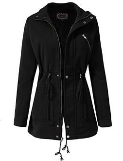 NE PEOPLE Womens Basic Lightweight Jacket with Zipper and Bu