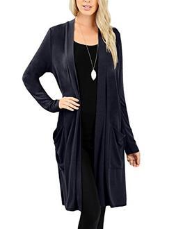 NE PEOPLE Womens Basic Long Sleeve Open Front Slouchy Pocket