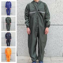 Black Motorcycle Rain Suit Raincoat Overalls Waterproof Men