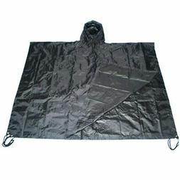 Black Nylon Military USMC Style All Weather Poncho Rain Coat