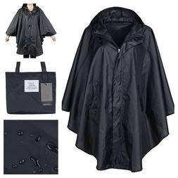 Black Women Rain Jacked Waterproof Batwing Sleeved Packable