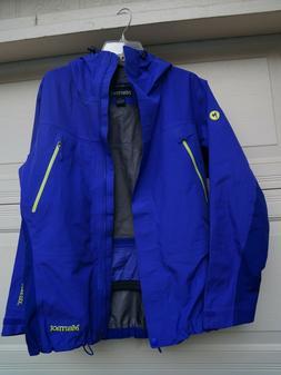 MARMOT Blue Rain  Jacket Coat Men/ Woman Large Hooded Windbr