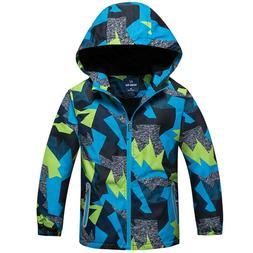 Boys Kids Camouflage Thicken Fleece Hoodie Windbreaker Rain