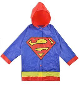 DC Comics Boys Superman Hooded Rain Slicker Jacket Coat Rain