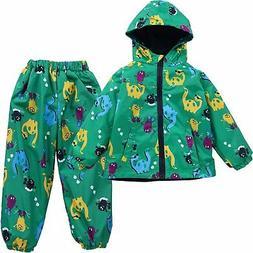 LZH Boys Waterproof Hooded Raincoat Jacket Dinosaur Coat+Pan