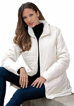 BRAND NWT 2-in-1 Reversible IVORY Roaman's® Parka Raincoat