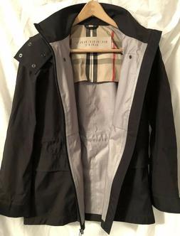 BURBERRY BRIT Black Hooded Zipper Raincoat Coat Jacket Camel