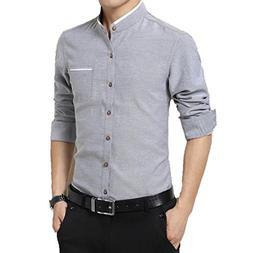 Summer-lavender Men's Casual Long Sleeve Slim Fit Business S