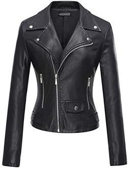 Tanming Women's Casual Slim Motorcycle PU Faux Leather Jacke