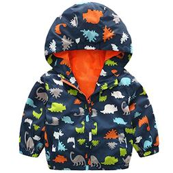 lymanchi Kids Baby Boy Casual Windbreaker Outerwear Dinosaur