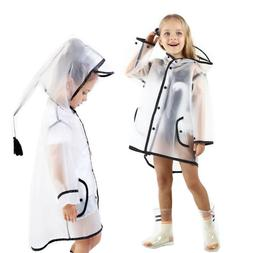 Children Kids Boy Girl Raincoat Jacket Transparent Waterproo