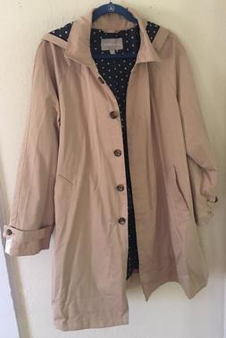 WOMAN WITHIN CLASSIC RAINCOAT WITH HOOD, SIZE 20W.. KHAKI.