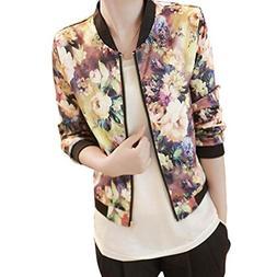 Clearance Sale! Women Stand Collar Long Sleeve Zipper Floral