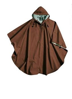 Rain Poncho Coat Chocolate Brown Hood Men Woman Waterproof W