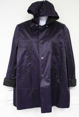 Larry Levine Coat Jacket Lined 1X 3X Purple Sport Raincoat W