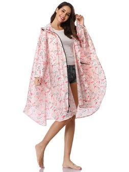 Rain Poncho Coat Weather Protection Waterproof Pink Flamingo