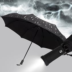Compact Folding Travel Umbrella Windproof Waterproof, Auto O